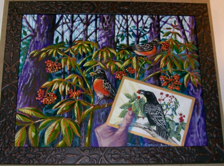 """""""Robins with Alice"""" by Dianne Anderson. (Image courtesy of Dianne Anderson)"""