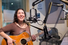 Melanie Brown on Juneau Afternoon. She plays as M & M, 7 p.m. Saturday on the main stage. (Photo by Annie Bartholmew/KTOO)
