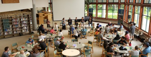 A panel of women leads a discussion at the Men's Gathering in the Egan Library at the University of Alaska Southeast on June 30, 2019.