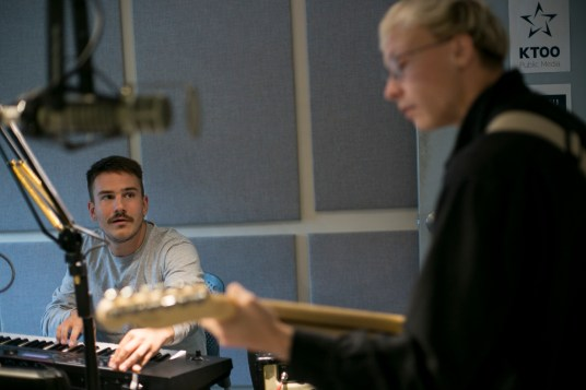 NPR Tiny Desk Contest winner Quinn Christopherson performs with Nick Carpenter on Juneau Afternon on Thursday, August 22, 2019. (Photo by Annie Bartholomew/KTOO)