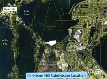 A map showing the location of the Pederson Hill subdivision, from the Oct. 8, 2019 Board of Education meeting packet.