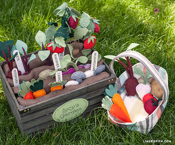Felt Food DIY Felt Veggie Garden with Beets Radishes Potatoes Carrots Mushrooms