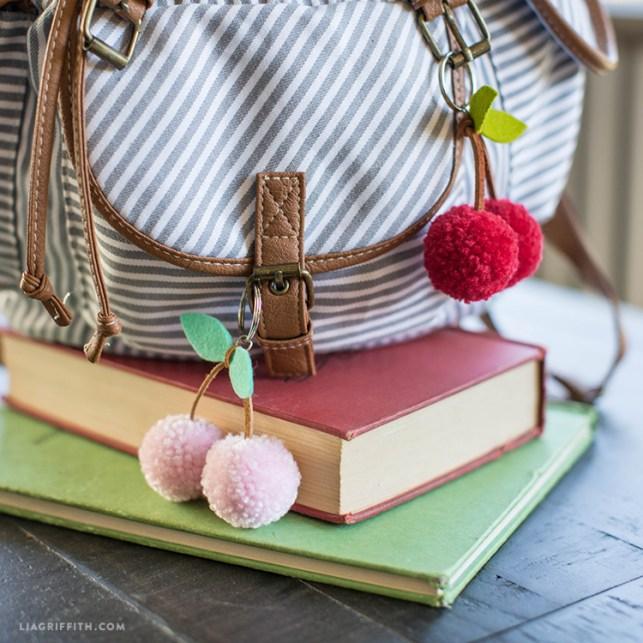 Pom pom crafts, cherry key chains