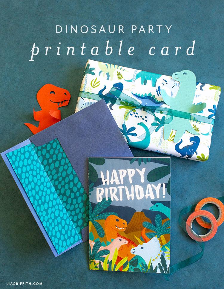 Dinosaur Happy Birthday Card Printable Lia Griffith