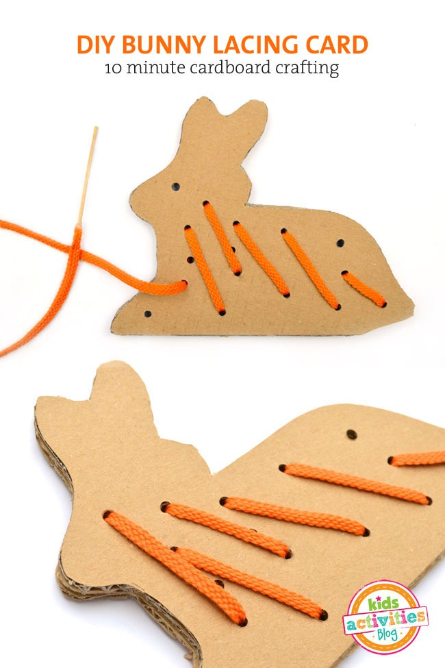 FREE PRINTABLE CARDBOARD BUNNY LACING CARD TEMPLATE