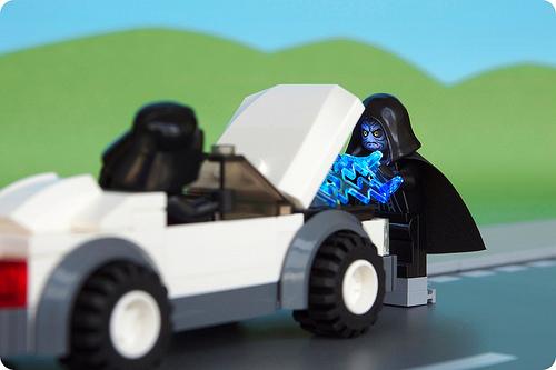 Emperor Palpatine jump-starting Darth Vader's car