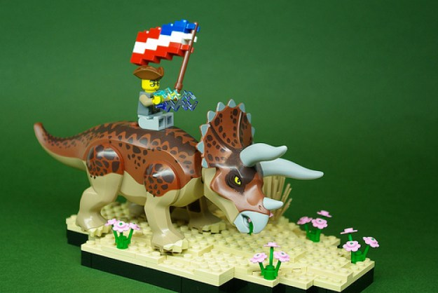Benjamin Franklin on a Triceratops