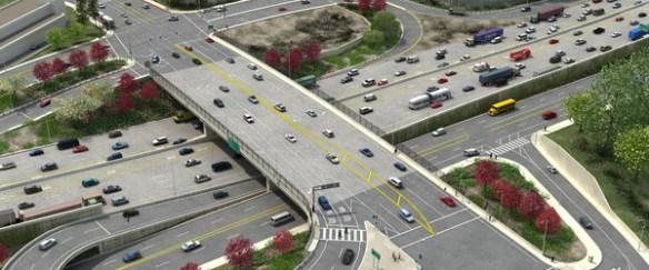 Ilustración del puente en Sunset Boulevard.