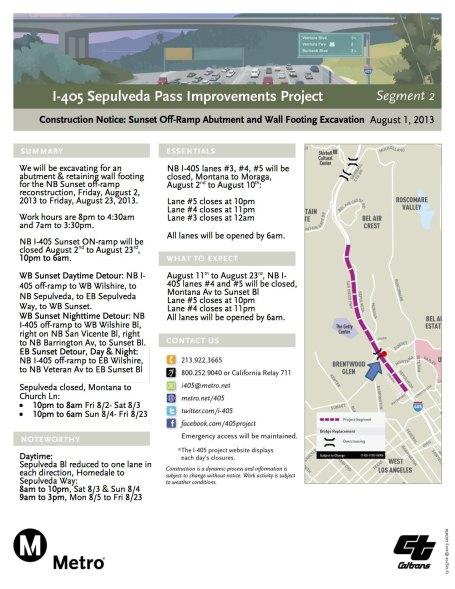 Página informativa de la rampa de entrada a la autopista I-405 rumbo al norte desde el bulevar Sunset.