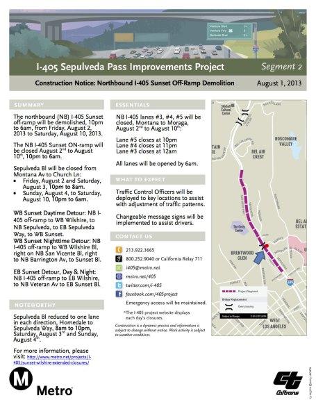 Página informativa del cierre del bulevar Sepulveda