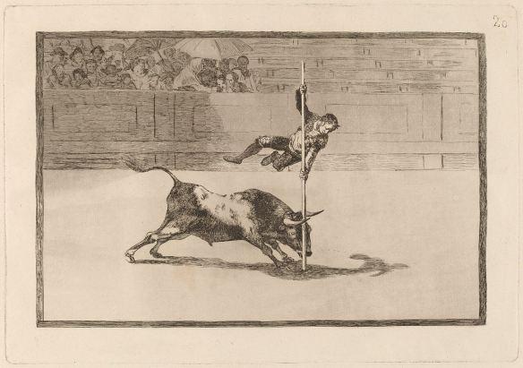 """""""La agilidad y audacia de Juanito Apinani en el Ruedo en Madrid"""" de Francisco Goya. Esta litografía es la número 20 de la serie Corrida de Toros. Esta extraordinaria litografía de Goya se expone en el Museo Norton Simon este fin de semana, el último. Visite el museo por la Línea Dorada de Metro"""
