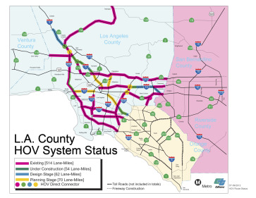 Mapa del nuevo carril HOV.