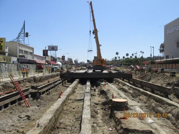 Área de construcción de la futura estación Crenshaw/Vernon.