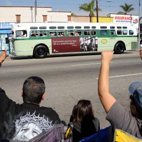 Réplica del autobús que abordó Rosa Parks.