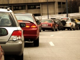 Rush hour traffic on a freeway in downtown Boston.