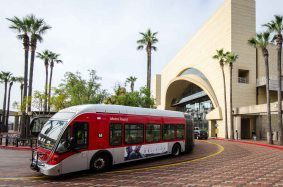 A Metro Rapid bus leaving the transit plaza. Metro currently operates the nation's largest clean air fleet.