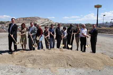 Santa Clarita Mayor Bob Kellar joined by the City Council and other public officials for groundbreaking of the Sand Canyon improvement project. Photo courtesy of City of Santa Clarita.