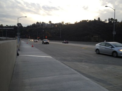 Some of the first motorists over the new bridge.
