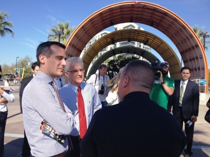 Mayor Eric Garcetti and Councilmember Paul Krekorian tour North Hollywood Station. Photo: Paul Gonzales/Metro