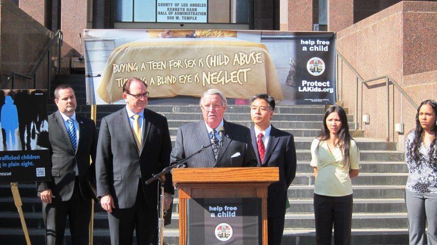 L.A. Supervisor and Metro Board Member Don Knabe announcing the War on Child Sex Trafficking campaign.