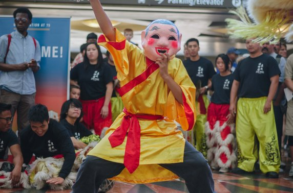 The East Wind Lion Dance Troupe performs in the East Portal. Photo by Steve Hymon/Metro.