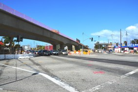 A street level view of the new bridge over Venice Boulevard.