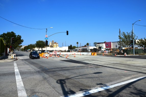 The tracks curving onto Colorado Avenue as they bend north from the old right-of-way along Pico Boulevard.