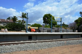 The platform for the station at Westwood Boulevard just south of the Westwood Pavilion.