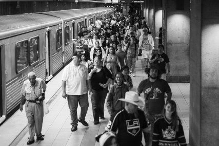 Fans after the parade on the Union Station Red/Purple Line platform.