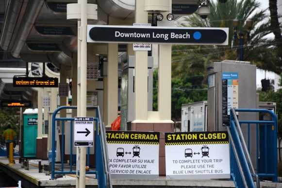 Downtown Long Beach Station closed for maintenance. Photos: Anna Chen/Metro