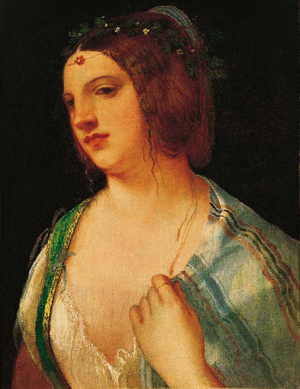 """Bust Portrait of a Courtesan"" by Italian Renaissance painter Giorgione was one of nearly 800 objects purchased by Norton Simon and brought to Pasadena after the dissolution of the infamous Duveen Gallery collection"