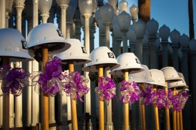 Shovels at the ready at the groundbreaking for the first phase of the Purple Line Extension outside LACMA in early November. Photo by Mark Clayton for Metro.