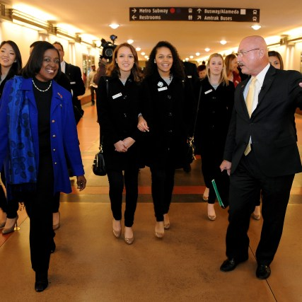 Metro Board Member Jackie DuPont-Walker joins the Rose Queen and Court on their tour of Union Station. Photo: Juan Ocampo/Metro