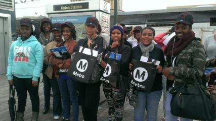 Students from Ideal Youth on their way to the Staples Center!