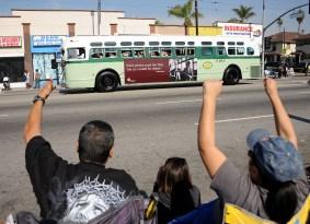 Metro's replica bus at the 2015 Kingdom Day Parade.