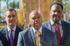 Metro's new CEO Phillip Washington flanked by Los Angeles Mayor Eric Garcetti and Inglewood Mayor James T. Butts. Photo: Steve Hymon/Metro.