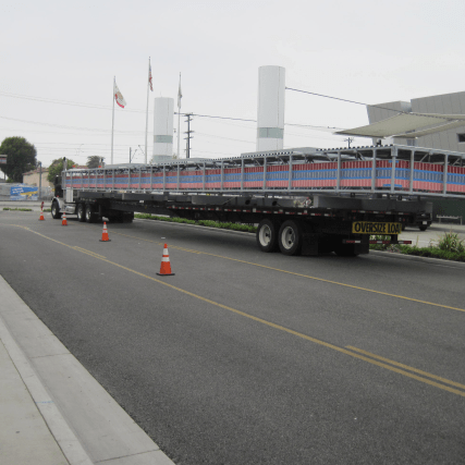 A flatbed delivers a new canopy for installation at Compton Station. Photo by Jame Wei/Metro.