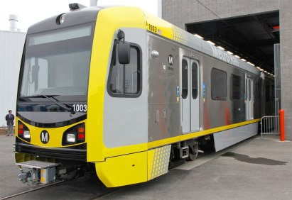 The new light rail vehicle that Kinkisharyo is manufacturing for Metro.