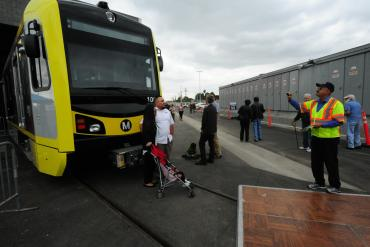 The public had a chance to mingle with the new rail cars that Kinkisharyo is manufacturing for Metro.
