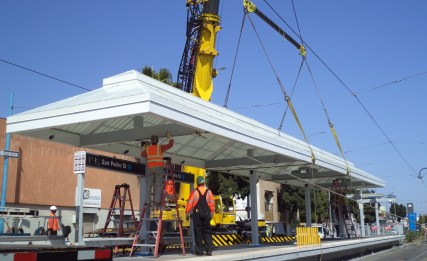 Canopy installation at San Pedro St Station...