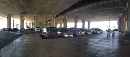 The vast area beneath the freeway is not scaled to the pedestrian.