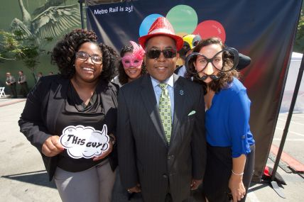 Metro Board Chair and L.A. County Supervisor Mark Ridley-Thomas celebrating Metro Rail's 25th Anniversary. Photo: Gary Leonard/Metro