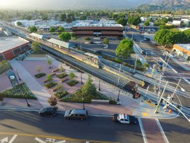 A view of the Arcadia Station and new transit plaza.