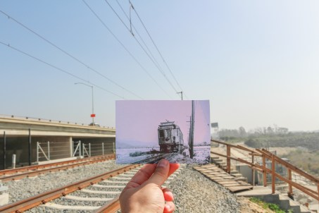 Then & Now: a streetcar crossing the San Gabriel River and the new Gold Line bridge. Streetcar photo by Alan Weeks.