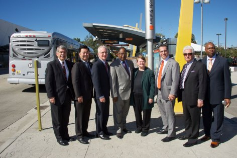 Current and former Metro Board Members celebrate 10-year anniversary of Metro Orange Line.