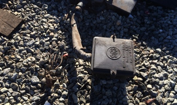 Track equipment damaged by this morning's train-auto incident. Photos by: Jose Ubaldo/Metro.
