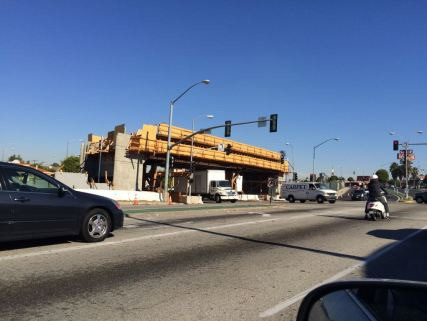 La Brea Bridge construction.