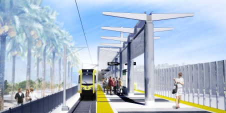 The platform at the Downtown Inglewood Station near Florence and La Brea.