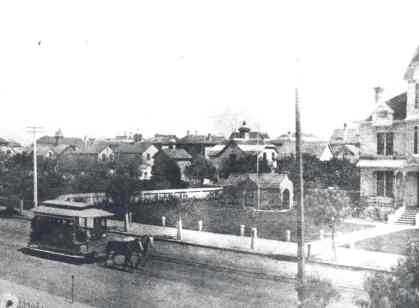 A horse drawn streetcar in Pasadena in the 1880s.