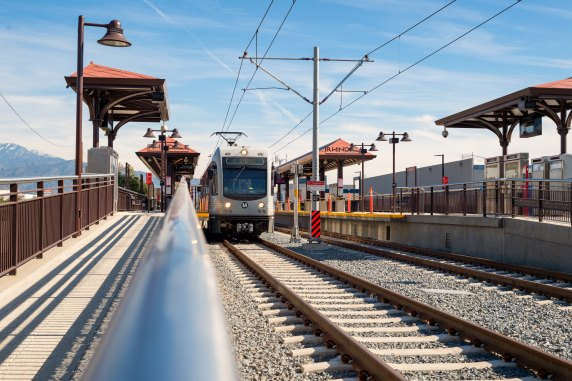 A test train at Irwindale Station.